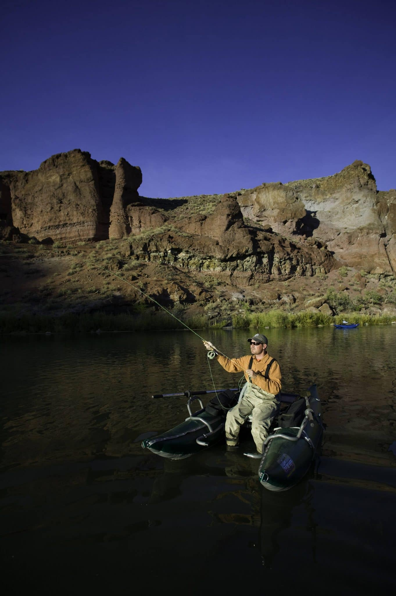 Fly fishing on the lower Owyhee River, a blue ribbon Brown Trout fishery in Southeast Oregon.